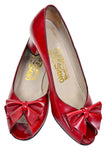Cherry Red Retro Vintage Ferragamo Leather Heels with Bows