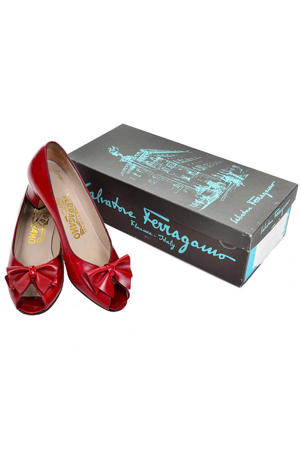 Cherry Red Vintage Ferragamo Shoes in Original Box