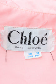 Vintage Chloe Pink Taffeta Hostess Robe With Lace Collar