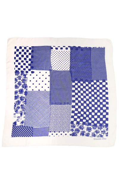 Christian Dior Indigo Blue & White Patchwork Pattern Silk Scarf 34""