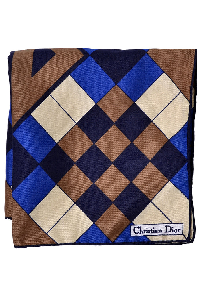 Geometric Christian Dior Silk Pocket Square Vintage