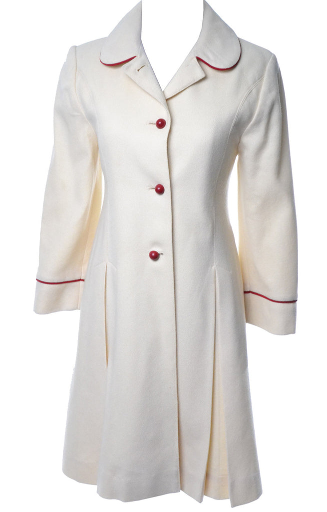 Vintage Christian Dior Winter White Wool Girls Coat Red Piping Child's 10 or Size 00