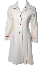 Vintage Christian Dior Winter White Wool Girls Coat Red Piping Child's 10 or Size 00 - Dressing Vintage