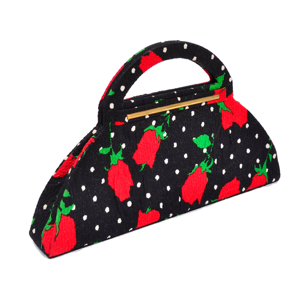 Polka Dot Christian Lacroix 1980s Handbag Red Flowers