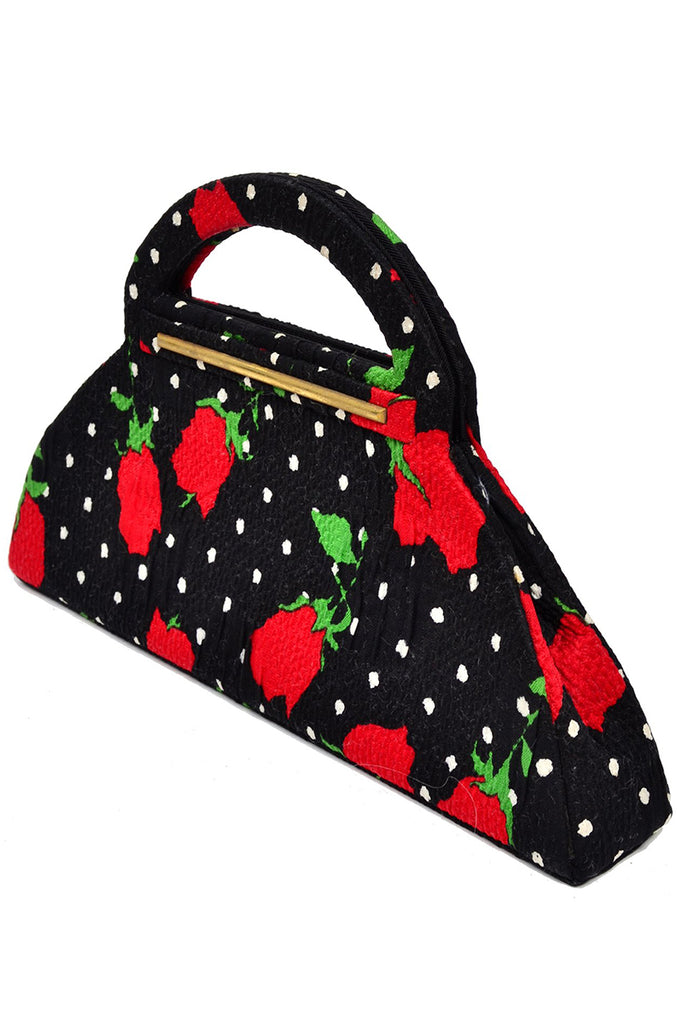 Christian Lacroix 1980s Handbag Red Flowers & Dots
