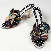 Vintage Heels Christian Lacroix Patchwork Bow Sandal Shoes