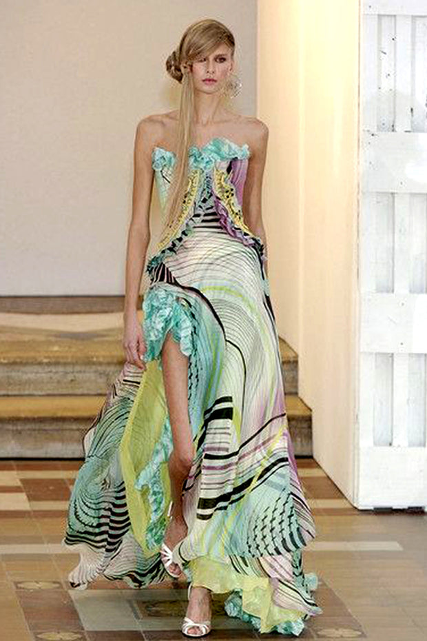 2005 Christian Lacroix Runway Silk Chiffon Evening Gown