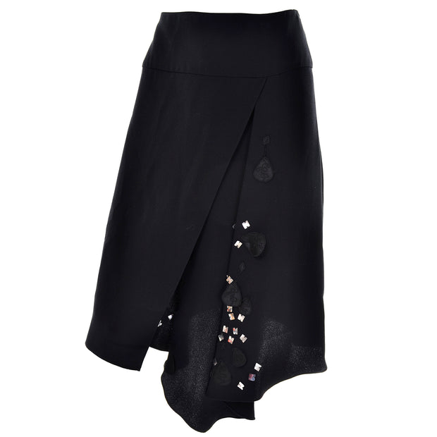 1990s Asymmetrical Black Silk Layered Skirt