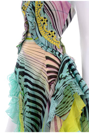 Runway Christian Lacroix Runway Silk Chiffon Evening Gown Dress