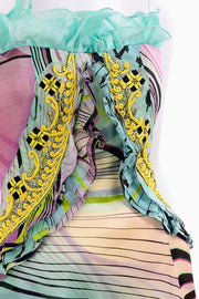 Soutache Trim Christian Lacroix Runway Silk Chiffon Evening Gown