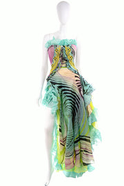 Christian Lacroix Runway Silk Chiffon Evening Gown Documented