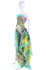 Iconic Christian Lacroix Runway Silk Chiffon Evening Gown