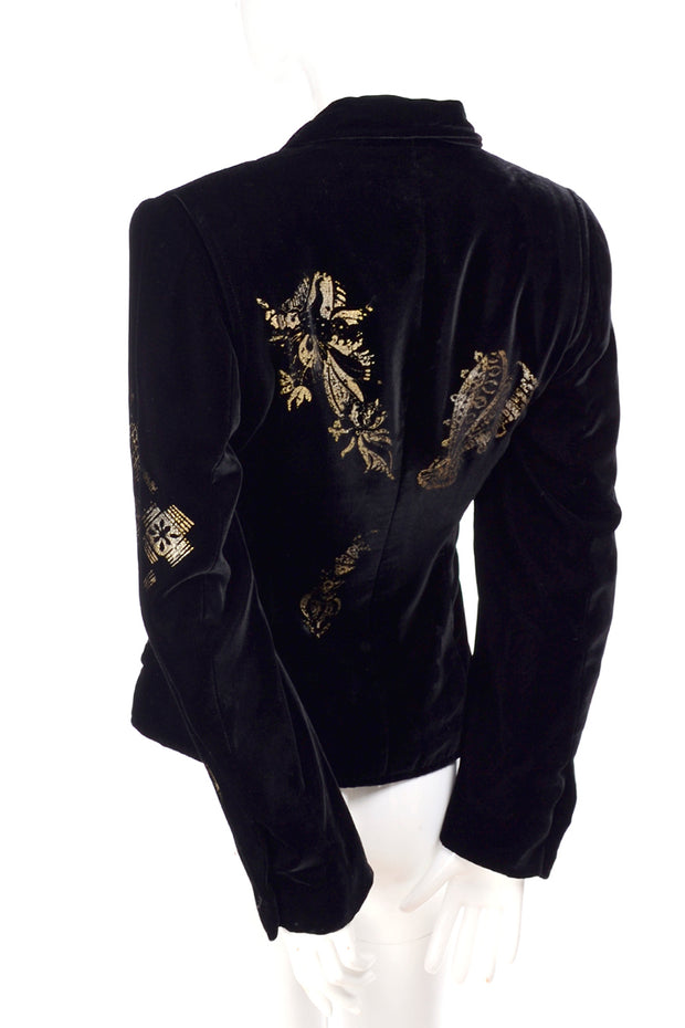 Gold Stamped Velvet Jacket by Christian Lacroix