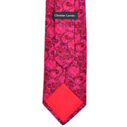 Christian Lacroix vintage silk necktie in pink and red swirls and red silk tipping