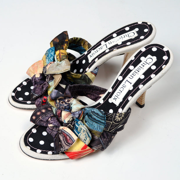 Christian Lacroix Patchwork Bow Sandal Shoes Vintage Heels