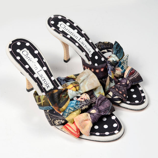 Rare Vintage Christian Lacroix Patchwork Bow Sandal Shoes
