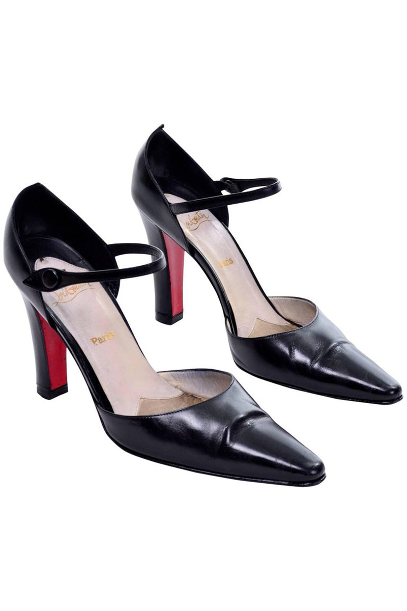 4c4a7bef076 Christian Louboutin Red Sole Mulano Vintage Black Leather Pumps 37.5 ...