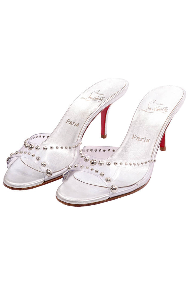 Never Worn Christian Louboutin Open Toe Slides w Silver Studs in PVC Sz 39