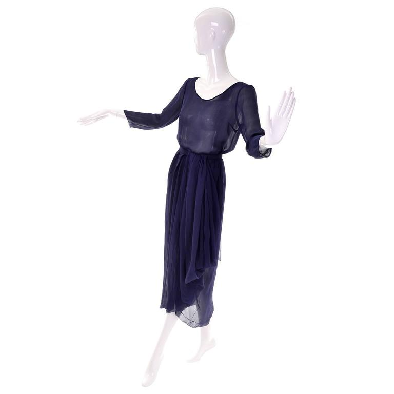 Navy blue silk chiffon couture Dior 2 piece dress size 0 2