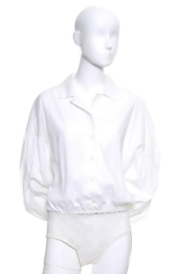 c7297c093180d2 Vintage Christian Dior white cotton bodysuit with puff sleeves size 8