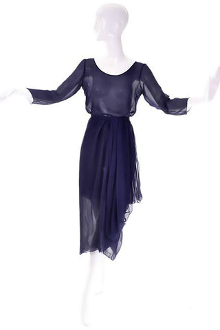 2 piece Christian dior HC sheer navy blue dress layered silk chiffon