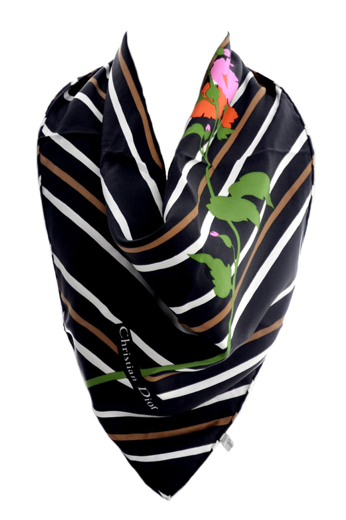 Striped Christian Dior floral scarf