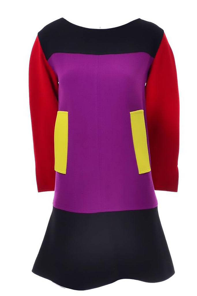 Purple red black and yellow vintage Christian Lacroix dress