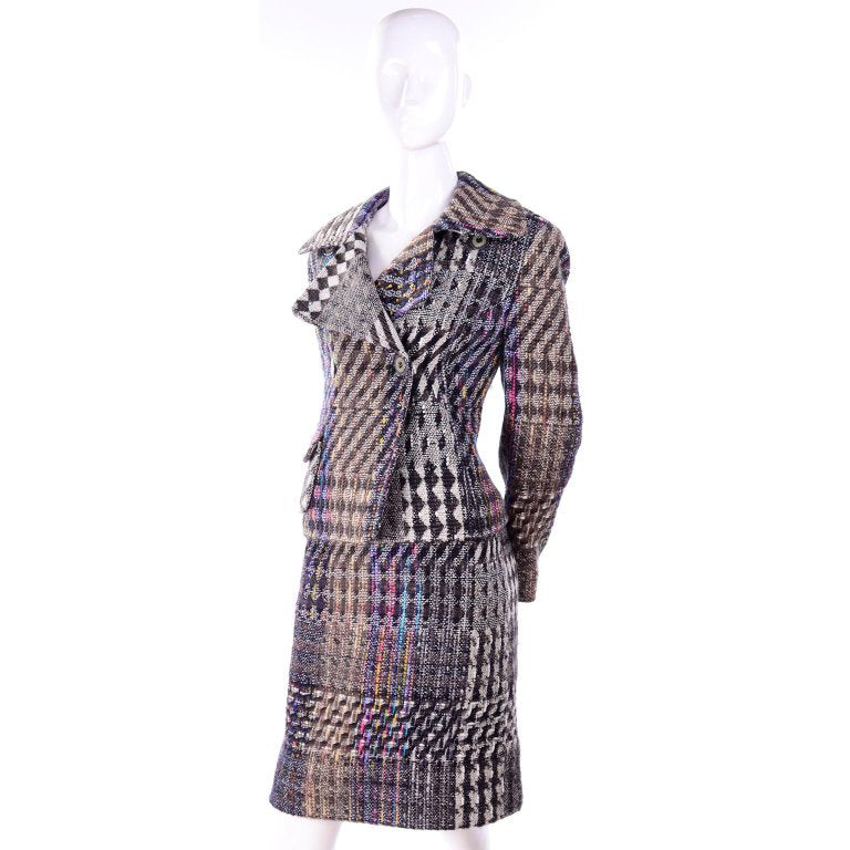 F/W 1996 Christian Lacroix Colorful Mixed Plaid Skirt & Jacket Suit