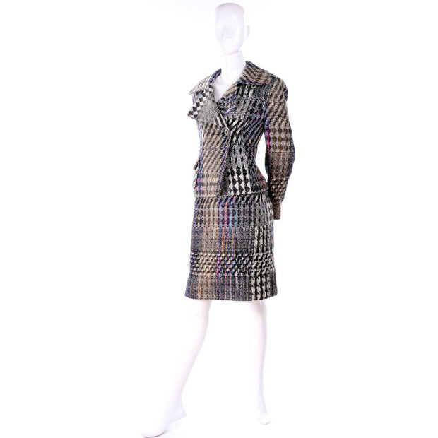 Vintage Christian Lacroix Multi Colored mixed plaid patterned skirt suit