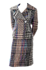 Christian Lacoix 1990's rainbow plaid tweed jacket and skirt suit