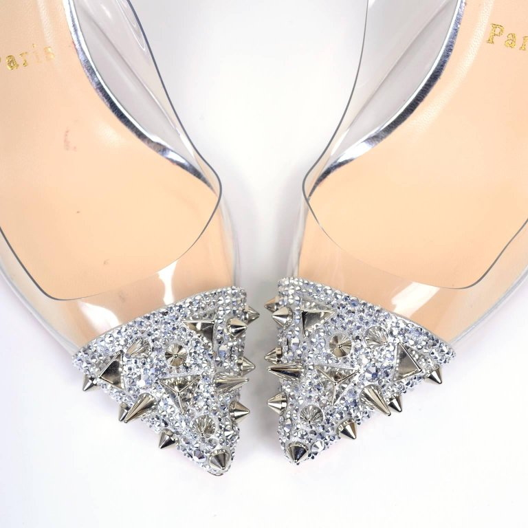 Christian Loutoutin Just Picks Silver Spike Clear Slingback Shoes 38