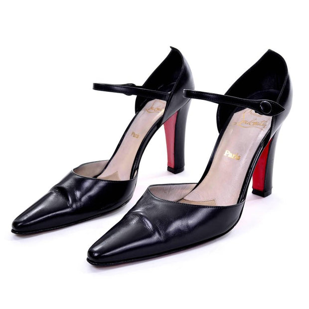 Christian Louboutin ankle strap black leather pumps