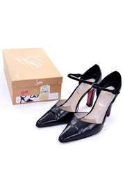 Christian Louboutin Mulano Vintage Black Leather Pumps w/ Red Soles Size 7