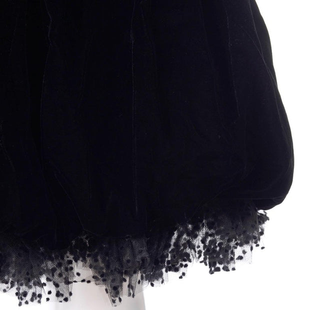 Christian Dior Vintage Black Velvet Dress W/ Bubble Skirt & Winged Bust