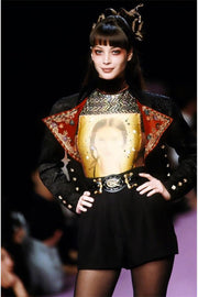 F/W 1994 Christian Lacroix Black Velvet Skirt Suit W Red Velvet Lapel