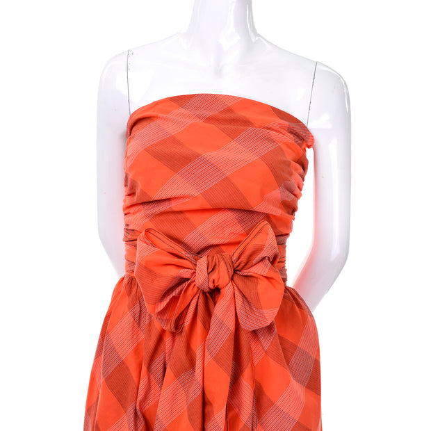 Orange Plaid Strapless Claire McCardell Dress