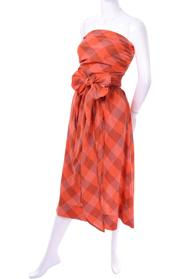 Claire McCardell Orange Plaid strapless sun dress