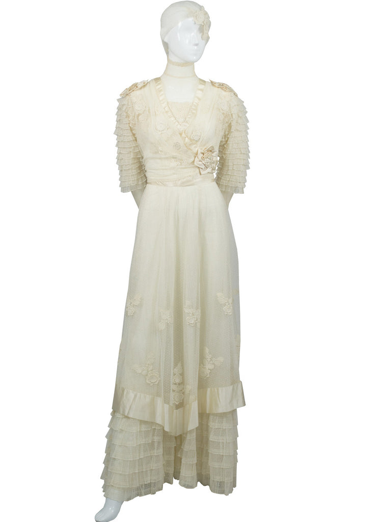 Vintage lace applique tulle Edwardian wedding dress with veil