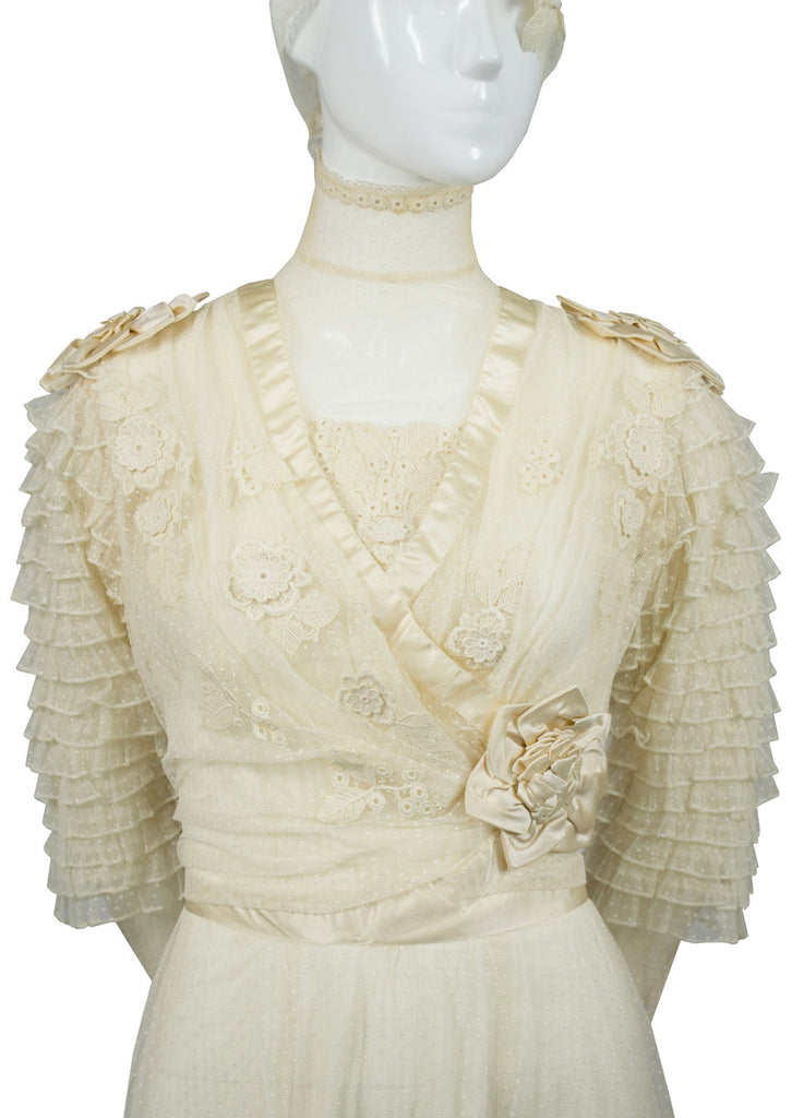 Edwardian vintage wedding gown with applique and original veil