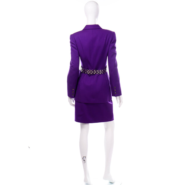 Vintage Claude Montana Purple Suit with Blazer Jacket and Skirt