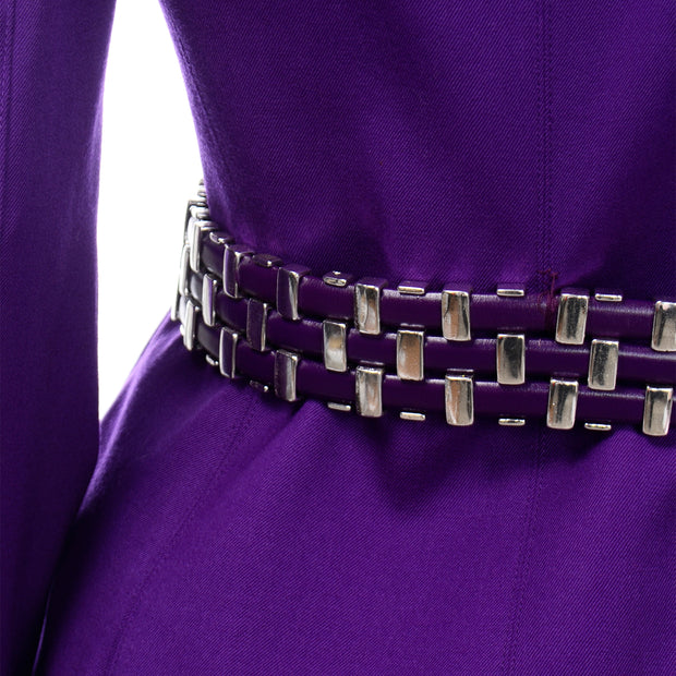 Vintage Claude Montana Purple Blazer Jacket and Skirt Suit Woven metal leather belt