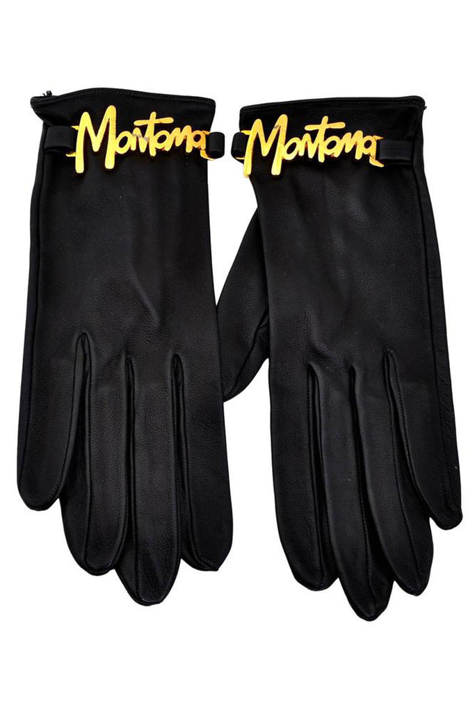 Vintage 1980s Claude Montana Leather Gloves with Gold Tone Lettering Across the Wrists