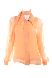 Claude Montana Peach Silk Blouse w Built in Scarf