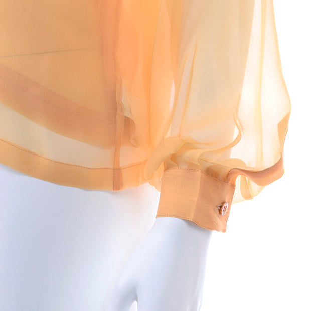 Vintage Claude Montana Sheer Blouse W/ Scarf & Camisole in Peach Silk