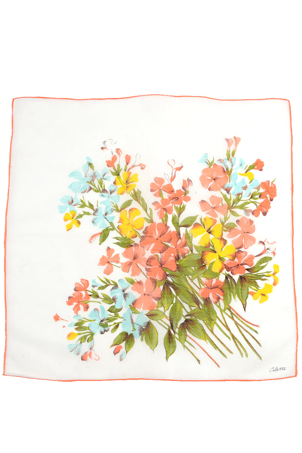 1970s Colette Salmon Pink & Yellow Floral Cotton Scarf