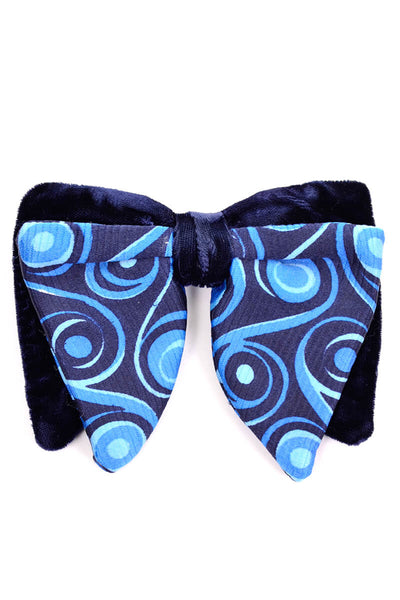 Colonel Ormond Vintage 1980's Clip on Blue and Velvet Bow Tie
