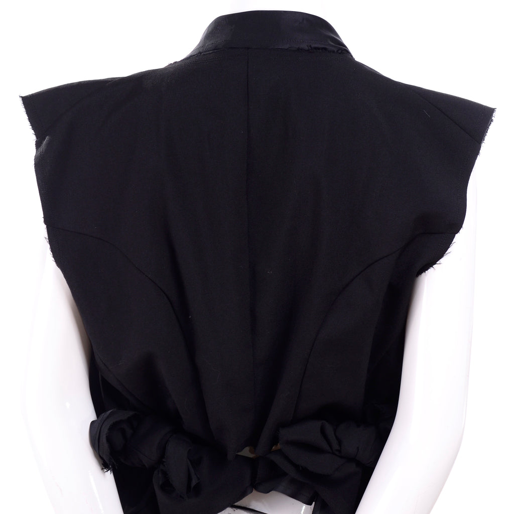 Comme des Garcons Black Wool Deconstructed Vest Layered w/ Raw Edges