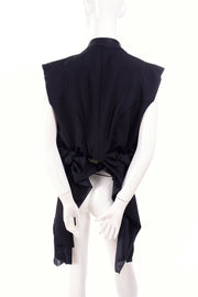 Vintage Comme des Garcons tied back black vest raw hem