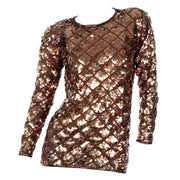 Vintage Copper Sequins Beaded Knit Pullover Sweater Top Medium