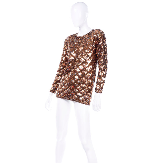 Late 1980s or Early 1990s Vintage Copper Sequins Beaded Knit Pullover Sweater Top